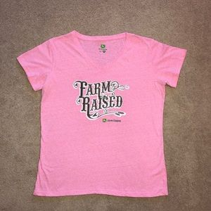 John Deere Farm Raised Pink Tee